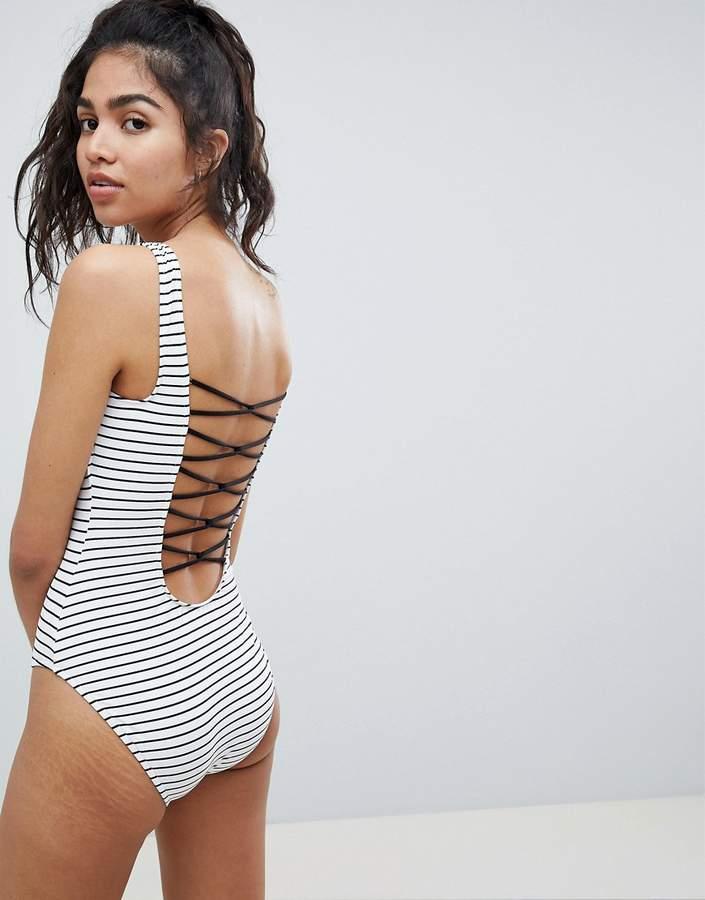 Lace Back Stripe Swimsuit