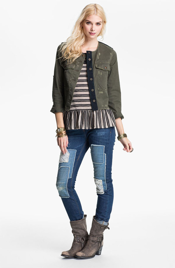 Free People Cropped Military Surplus Jacket
