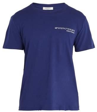 Valentino Text Print Cotton Jersey T Shirt - Mens - Blue