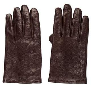 Gucci Microguccissima Leather Gloves