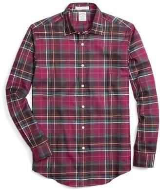 Brooks Brothers Milano Fit Burgundy Heathered Plaid Sport Shirt