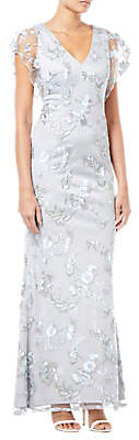 Adrianna Papell Embroidered Gown, Silver