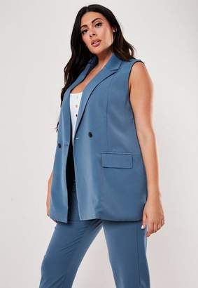 Missguided Plus Size Blue Co Ord Sleeveless Long Blazer