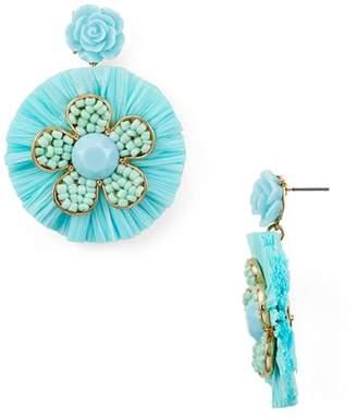 Aqua Raffia Floral Drop Earrings - 100% Exclusive