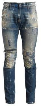 G Star Super-Slim Distressed Zip-Knee Jeans