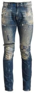 G Star Super-Slim Distressed Zip-Knee Jeans