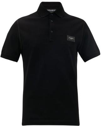 Dolce & Gabbana Logo Plaque Cotton Pique Polo Shirt - Mens - Black