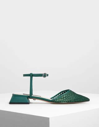 Charles & Keith Mesh Mini Block Heel Sandals