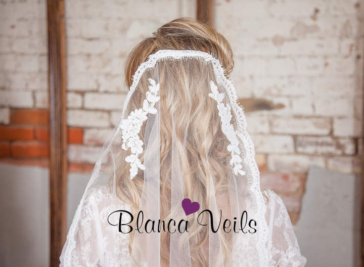 Etsy Lace Mantilla Veil with Applique