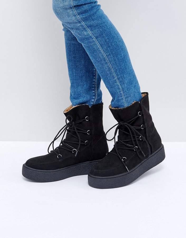 ASOS ALARNA Lace Up Snow Boots