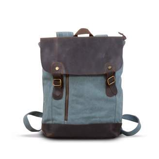 EAZO - Zip Detail Canvas & Leather Backpack in teal