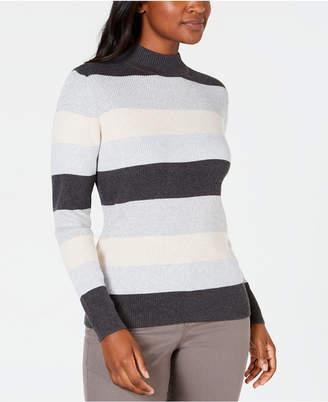 Karen Scott Petite Striped Mock-Neck Cotton Sweater
