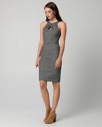 Le Château Tweed Pleated Neck Shift Dress