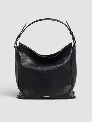Calvin Klein Calvin Klein Womens Keyla Leather Hobo Black