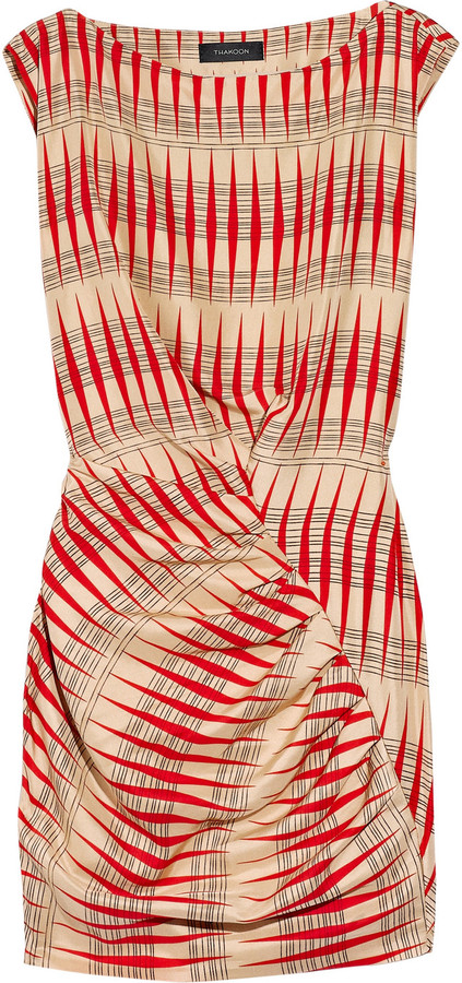 Thakoon Backgammon printed silk dress