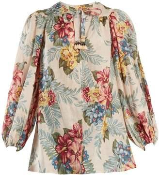 Zimmermann Kali Floral Print Linen Shirt - Womens - Blue Multi