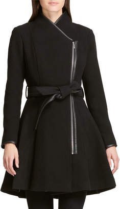 DKNY Asymmetric-Zip Fit-&-Flare Belted Jacket