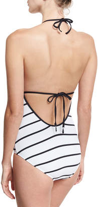 Seafolly Castaway Plunging Halter Striped Maillot, White