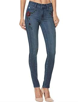 Paige Hoxton High Rise Ultra Skinny With Floral Emb