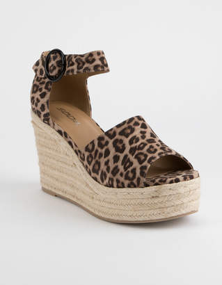 Soda Sunglasses Ankle Strap Cheetah Womens Espadrille Wedges