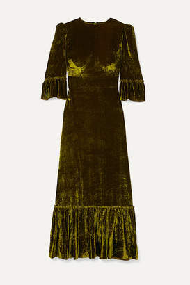 The Vampire's Wife Festival Ruffled Tiered Velvet Maxi Dress - Green
