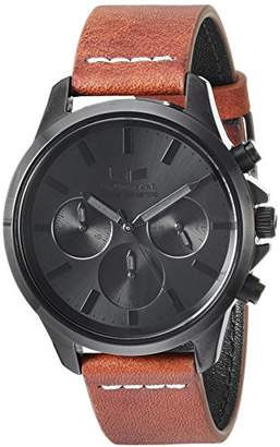Vestal 'Heirloom Chrono' Quartz Stainless Steel and Leather Dress Watch