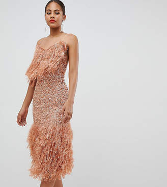 Asos Tall DESIGN Tall feather effect trim sequin midi bodycon dress