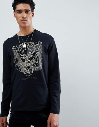 Versace long sleeve t-shirt in black with tiger print