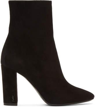 Saint Laurent Black Suede Loulou Heeled Boots