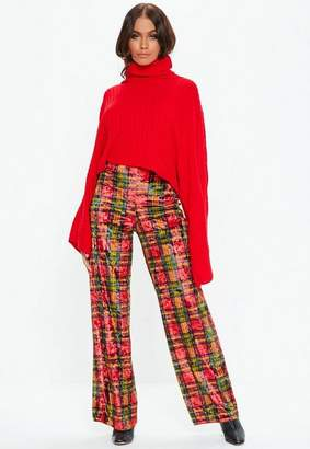 Missguided Red Plaid Velvet Wide leg Pants