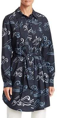 Emporio Armani (エンポリオ アルマーニ) - Emporio Armani Emporio Armani Women's Abstract Print Belted Tunic Top - Size 36 (0)