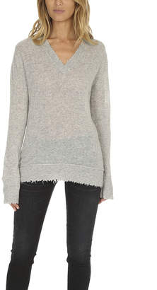 R 13 Distressed Edge V Neck Sweater