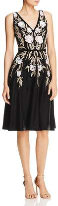 Aidan Mattox Sequined Floral Velvet Dress