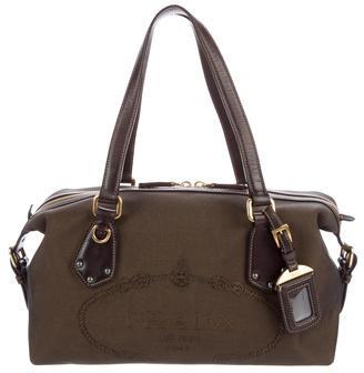 pradaPrada Leather-Trimmed Shoulder Bag