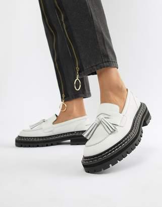 Asos DESIGN Machine premium leather chunky tassel loafers