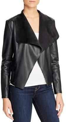 Bagatelle Draped Faux Leather Jacket $98 thestylecure.com