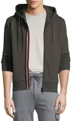 Moncler Men's Striped-Placket Zip-Front Hoodie Sweatshirt
