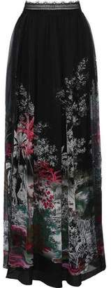 Alberta Ferretti Lace-trimmed Printed Silk Maxi Skirt