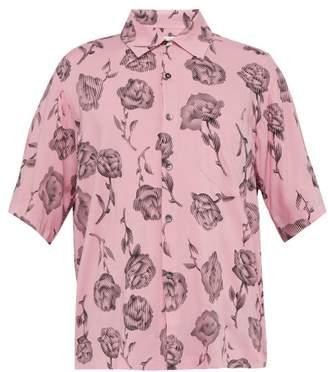 Aries Rose Print Short Sleeved Satin Shirt - Mens - Pink
