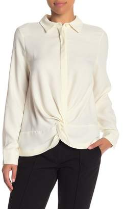 Nicole Miller Gather Front Long Sleeve Button Down Blouse