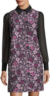 Nanette Lepore Nanette Jacquard A-Line Dress w/Chiffon Sleeves
