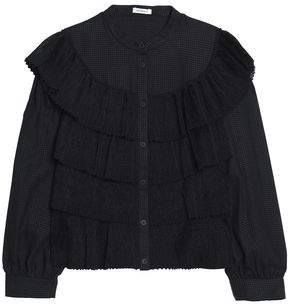 Vilshenko Ruffled Tiered Lace And Textured-Cotton Blouse