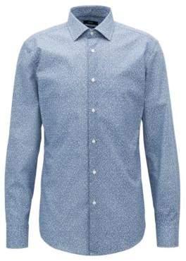BOSS Hugo Floral-Print Cotton Dress Shirt, Slim Fit Jenno 17 Dark Blue