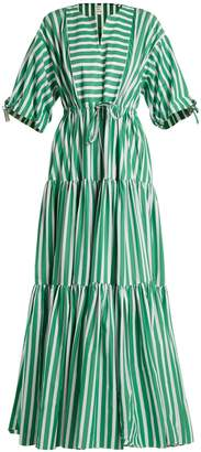Maison Rabih Kayrouz Tiered striped cotton-poplin dress
