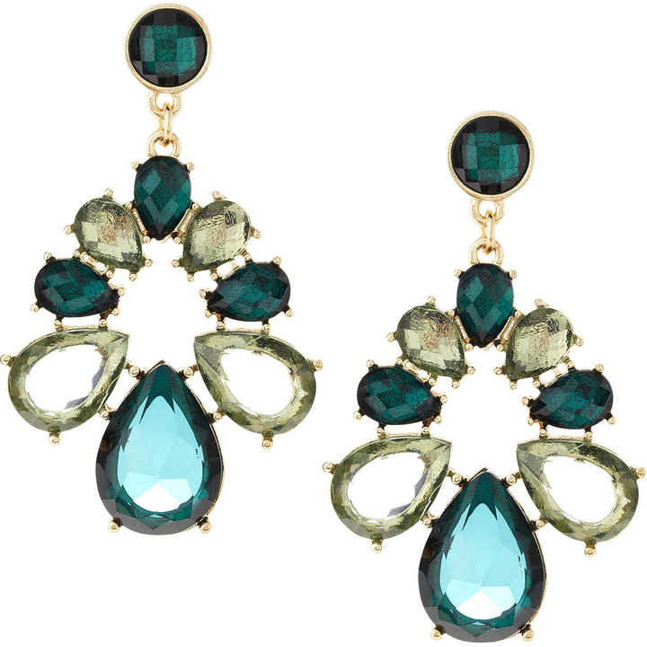 Fragments for Neiman Marcus Acrylic Facet Earrings, Emerald