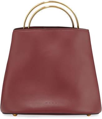 Marni Pannier Ring-Handle Leather Bucket Bag