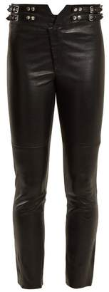 Isabel Marant Mid Rise Skinny Leather Trousers - Womens - Black