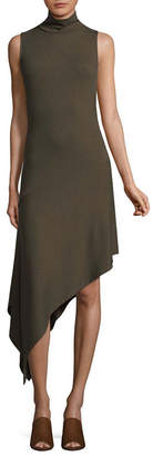 TDC T.D.C Sleeveless Mock Neck Assymetrical Dress