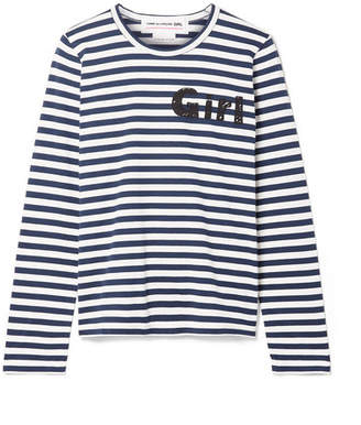 Comme des Garcons Striped Cotton-jersey Top - Navy