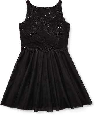 Ralph Lauren Beaded Velvet-Tulle Dress
